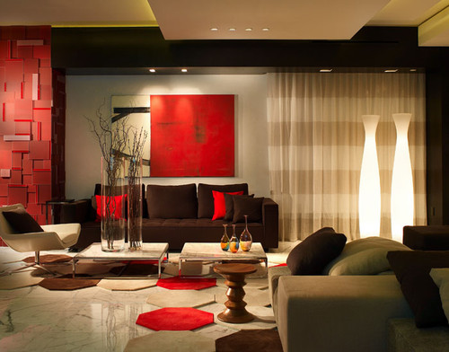 living room designs red photo - 6