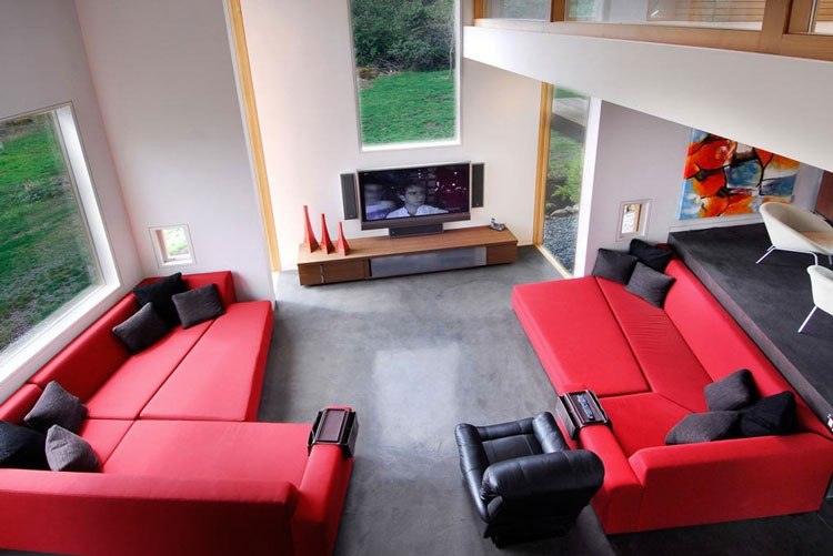 living room designs red and black photo - 1