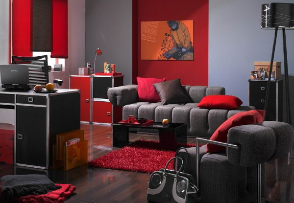 living room designs red and black photo - 3