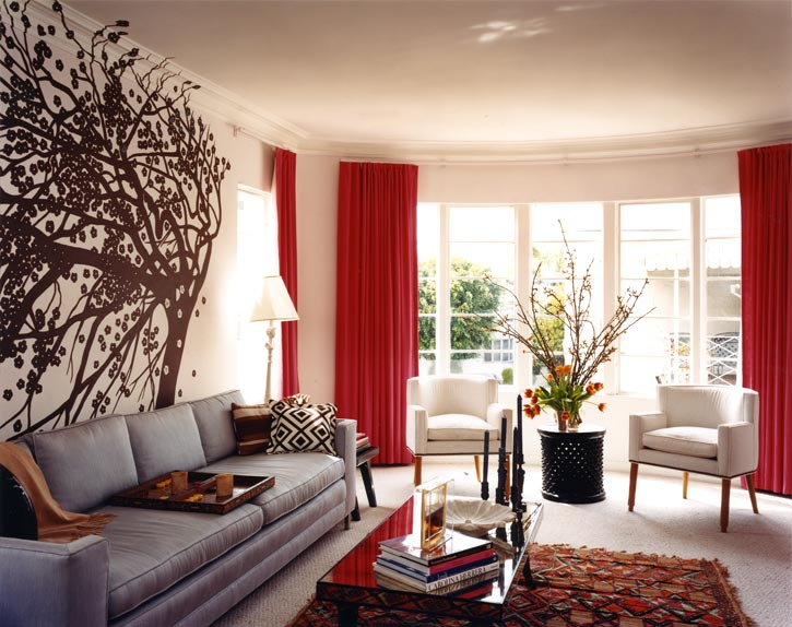 living room designs red brown photo - 2