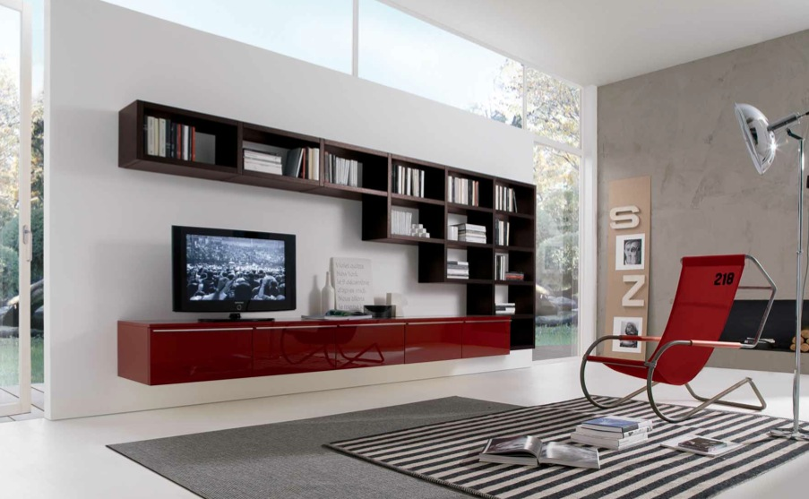 living room designs red brown photo - 3