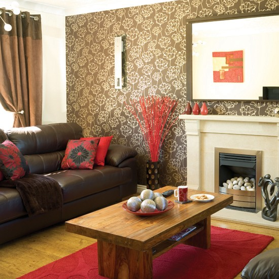 living room designs red brown photo - 4