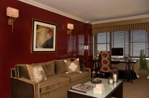 living room designs red brown photo - 6