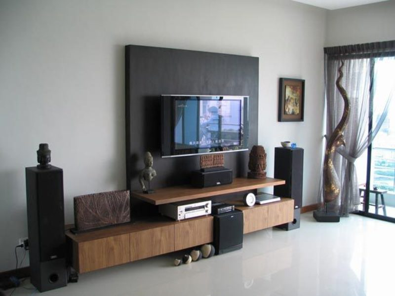 living room lcd tv wall unit design ideas photo - 4