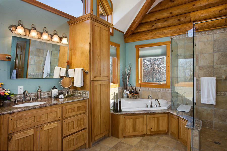 log home bathrooms photo - 1