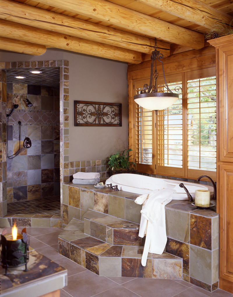 log home bathrooms photo - 2