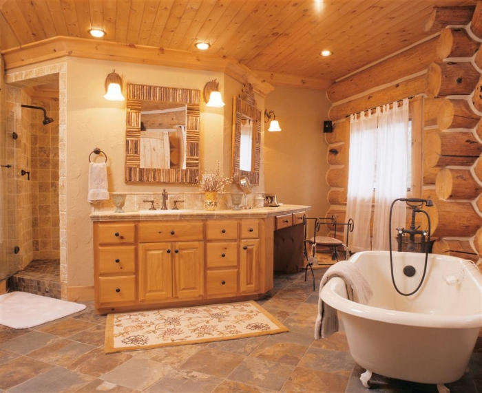 log home bathrooms photo - 6