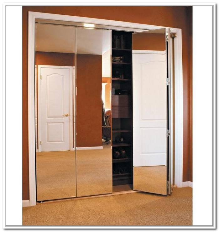 Mirrored closet bifold doors roselawnlutheran for Exterior closet doors