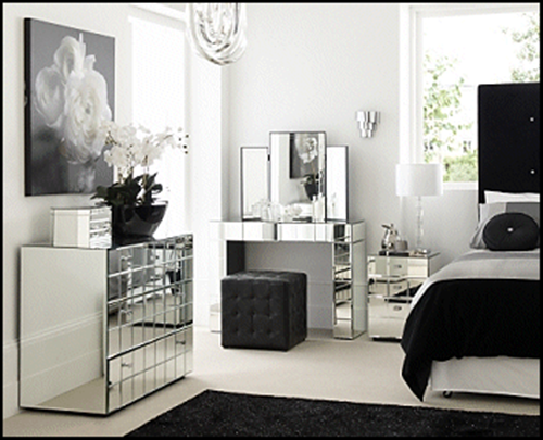 mirrored furniture bedroom set photo - 3