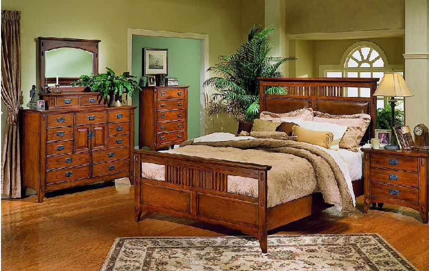 mission style bedroom furniture black photo - 3