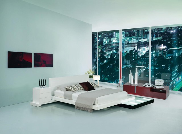 modern bedroom sets with lights photo - 2