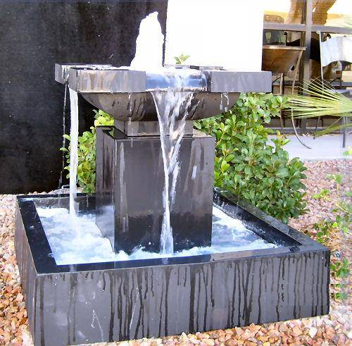 modern water fountains for gardens photo - 2
