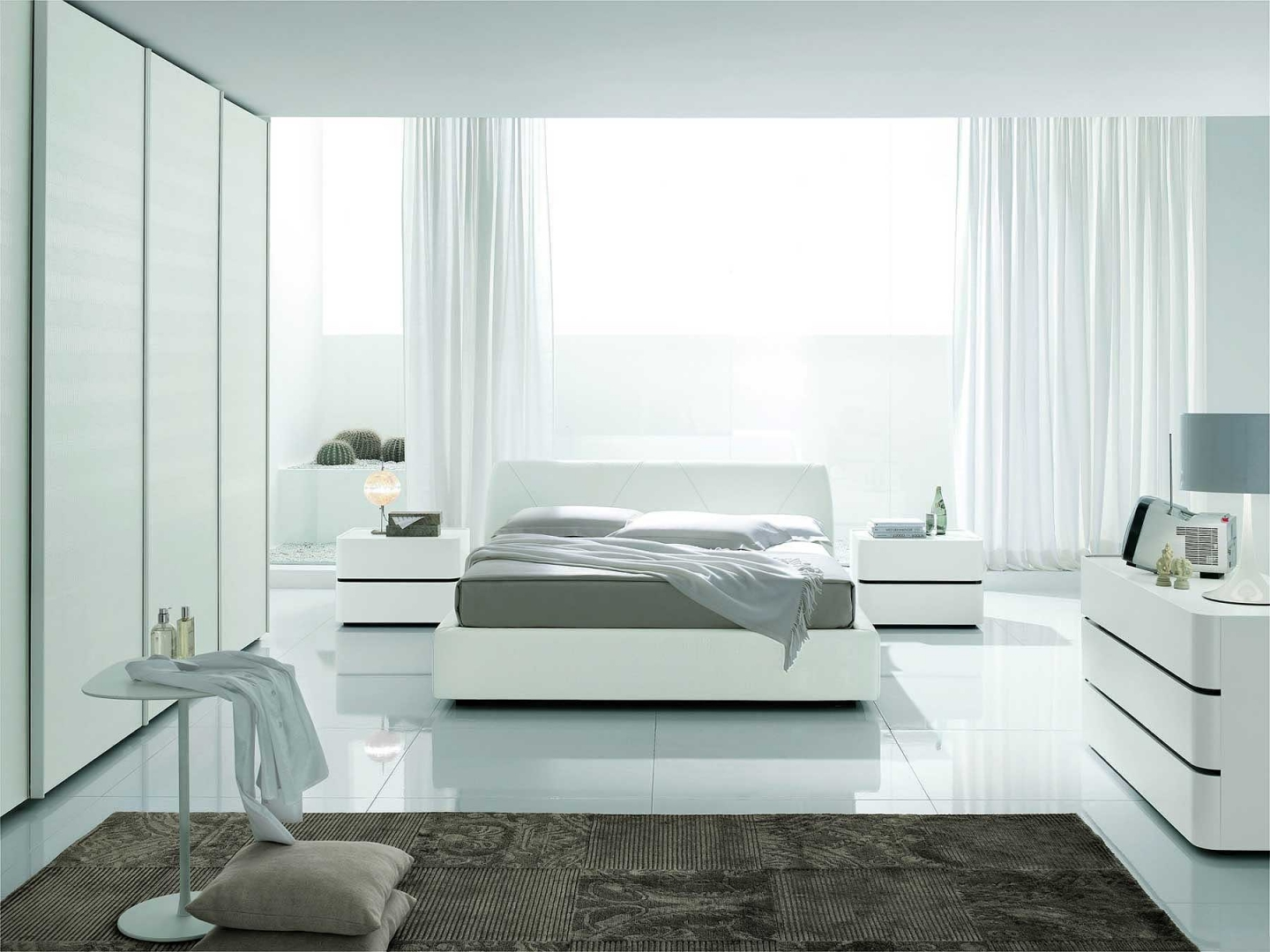 modern white bedroom furniture sets photo - 1