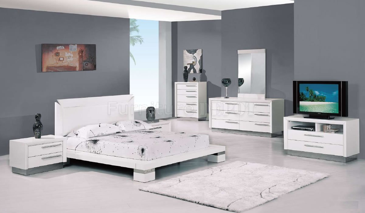 modern white bedroom furniture sets photo - 2