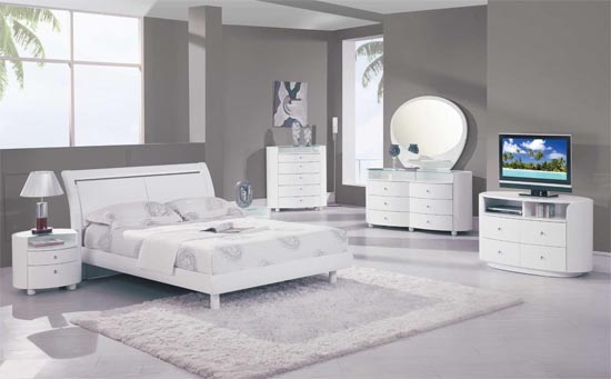 modern white bedroom furniture sets photo - 5