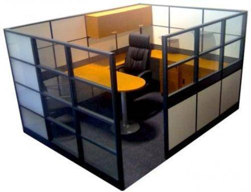 office cubicle glass walls photo - 2