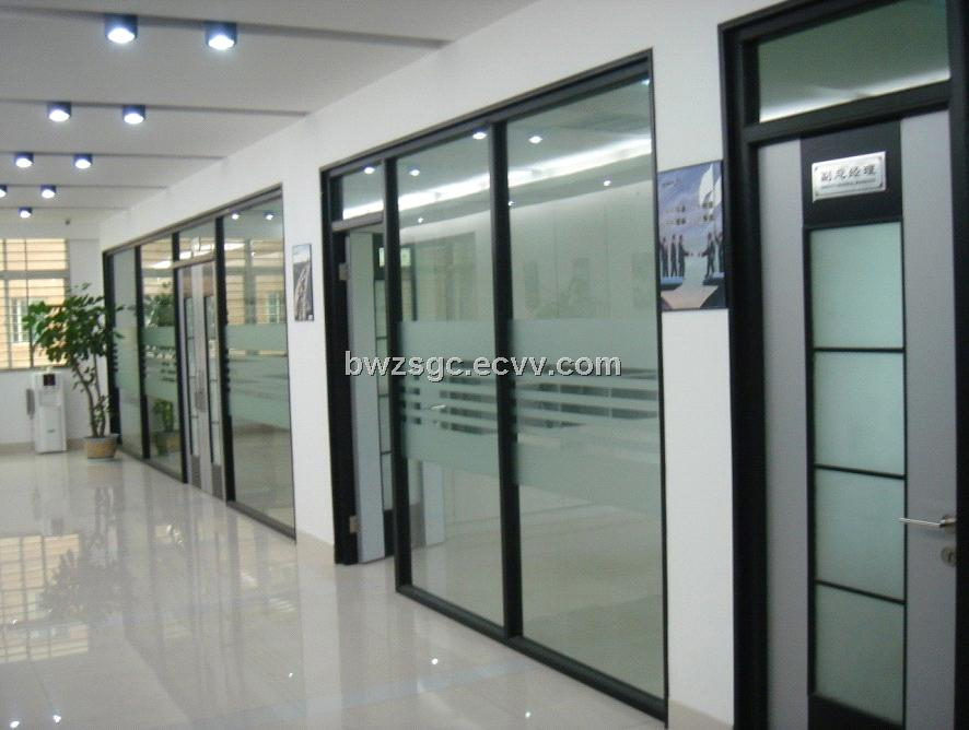 Office partition glass walls interior exterior doors Office partition walls with doors