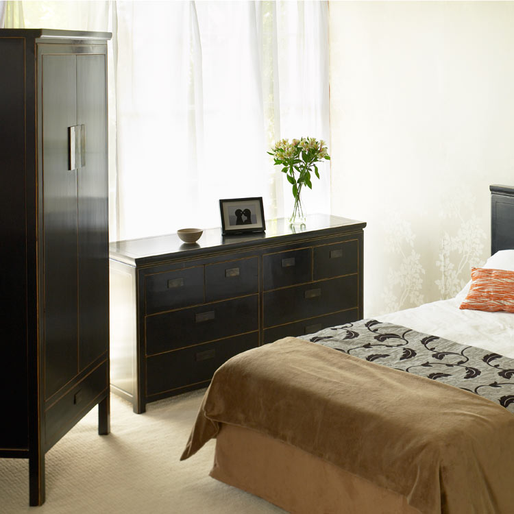 oriental black bedroom furniture photo - 2
