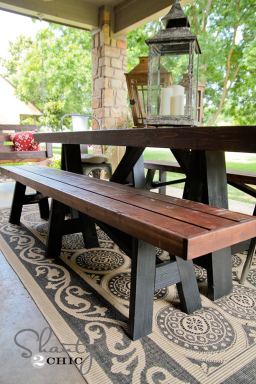 outdoor dining table bench photo - 1