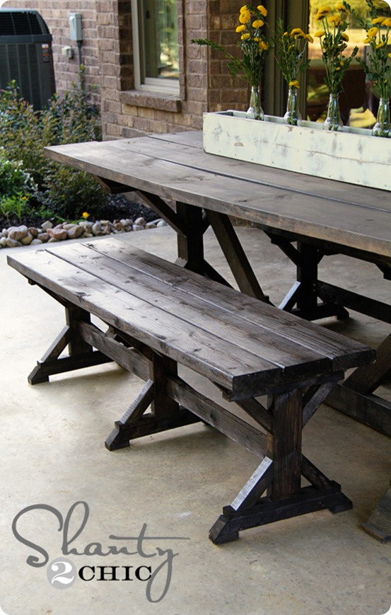 outdoor dining table bench photo - 2