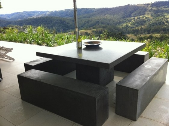 Outdoor Dining Table Bench Photo   3