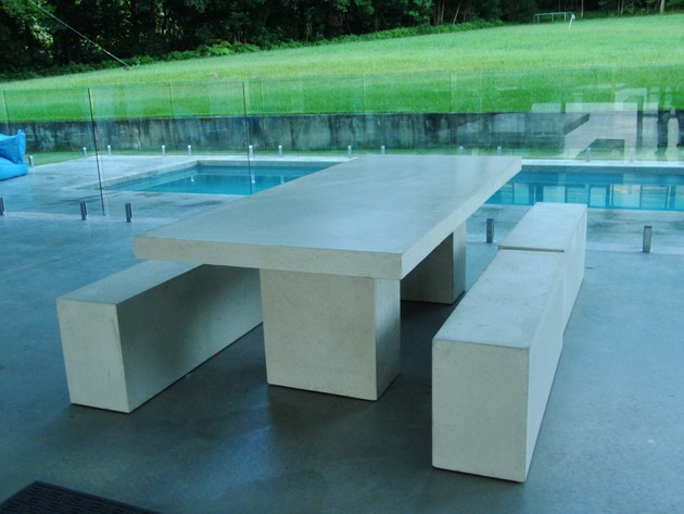 outdoor dining table bench photo - 4