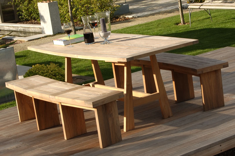 outdoor dining table bench photo - 6
