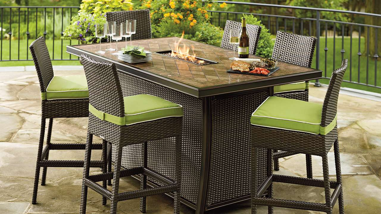 Outdoor Dining Tables With Gas Fire Pit