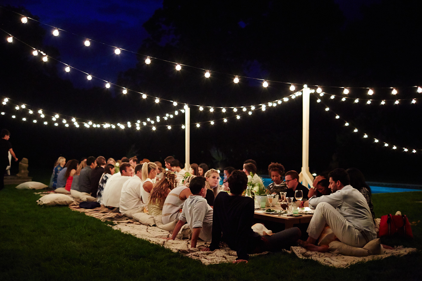 outdoor dinner party lights photo - 5