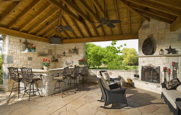 Outdoor kitchen and fireplace | Interior & Exterior Doors