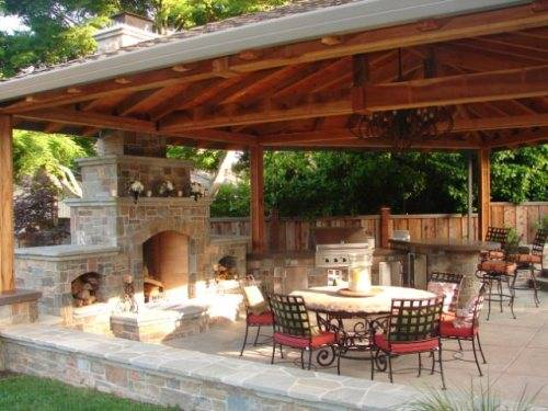 outdoor kitchen and fireplace designs photo - 3