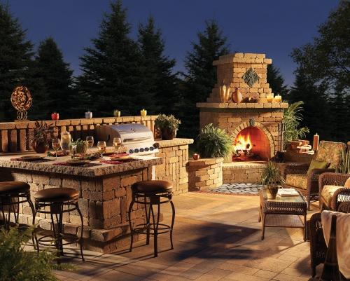 outdoor kitchen and fireplace designs photo - 6