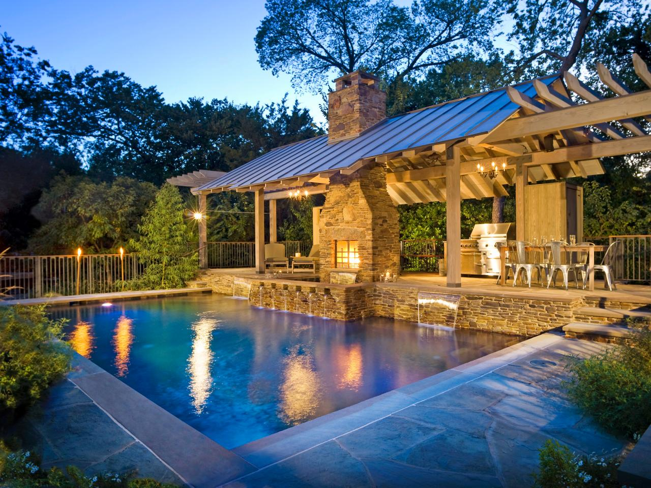 outdoor kitchen and pool photo - 3