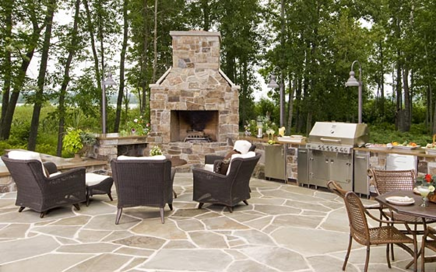 outdoor kitchen fireplace photo - 4