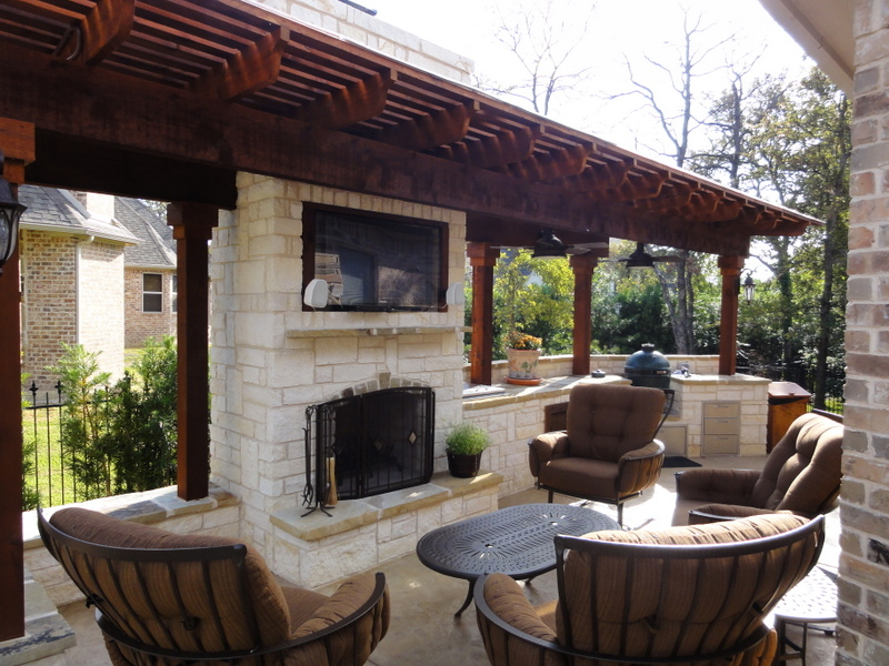 outdoor kitchen fireplace photo - 6