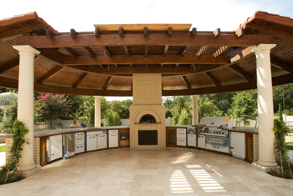 Outdoor kitchen gazebo 20 combinations of indoor and for Outdoor gazebo plans with fireplace