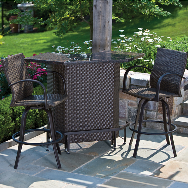 Outdoor patio furniture bar sets for Front door furniture sets