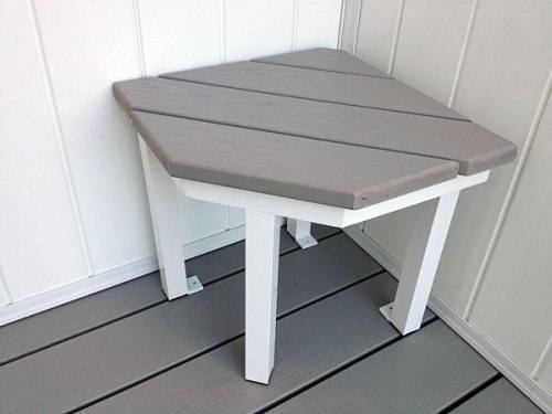 outdoor shower bench photo - 2