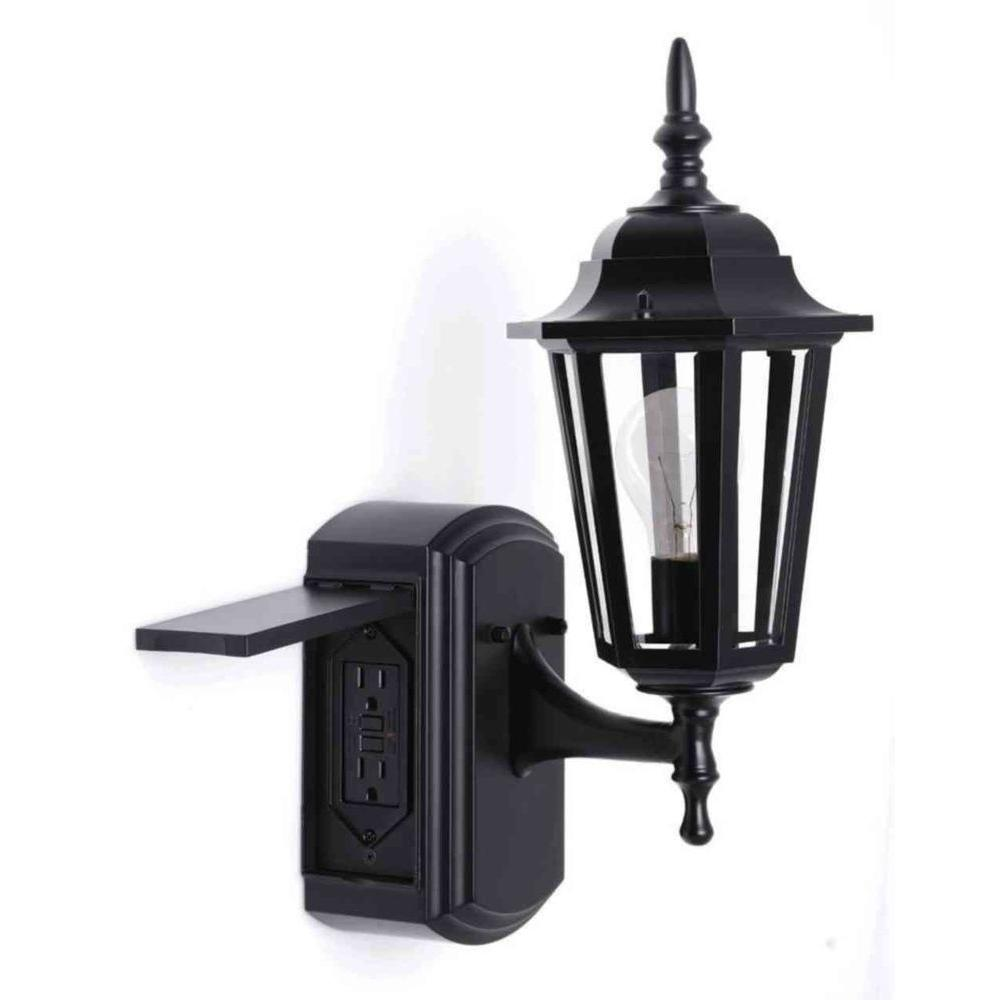 outdoor wall light with built in outlet photo - 2