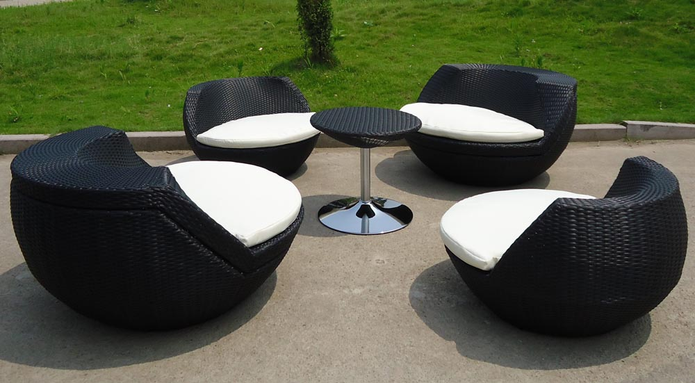 outdoor wicker furniture black photo - 3