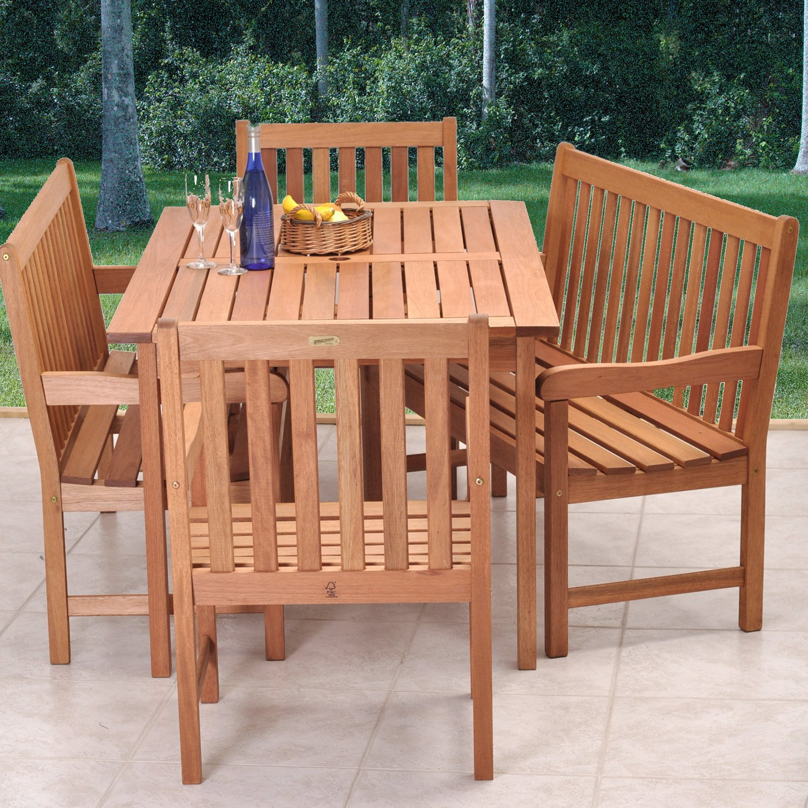 patio dining sets bench photo - 1