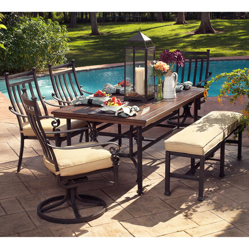 patio dining sets bench photo - 3