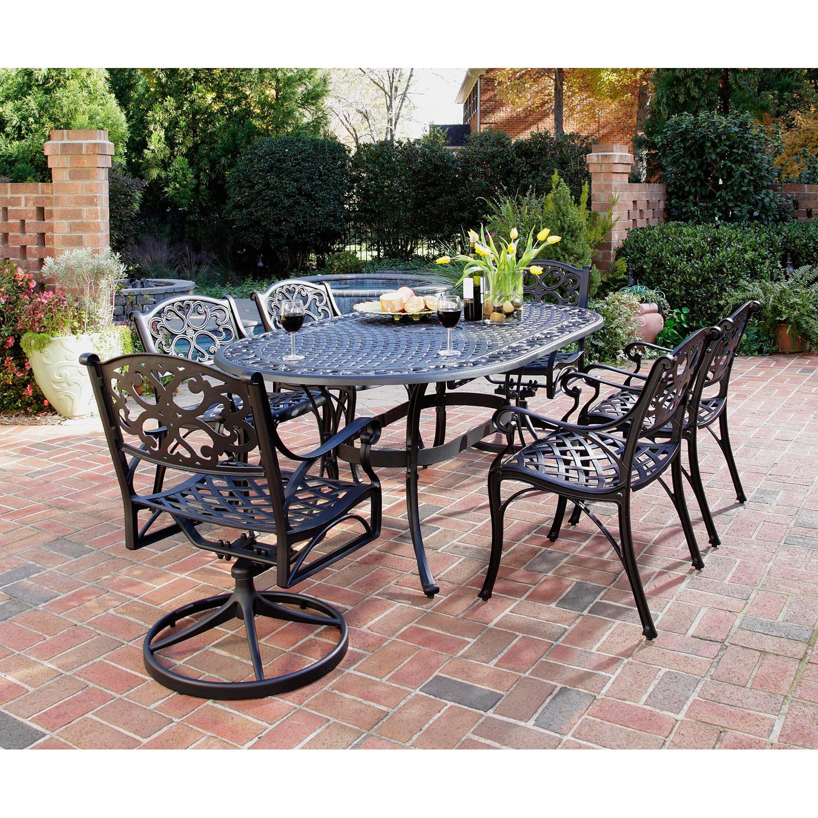 patio dining sets black photo - 2