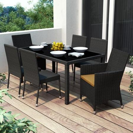 patio dining sets black photo - 6