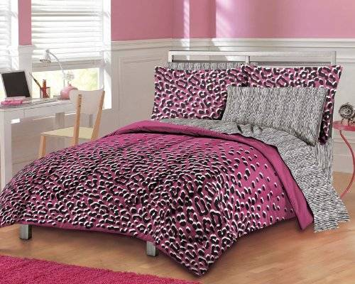 pink cheetah print bedroom set photo - 1