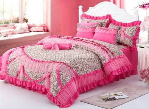 pink cheetah print bedroom set photo - 2