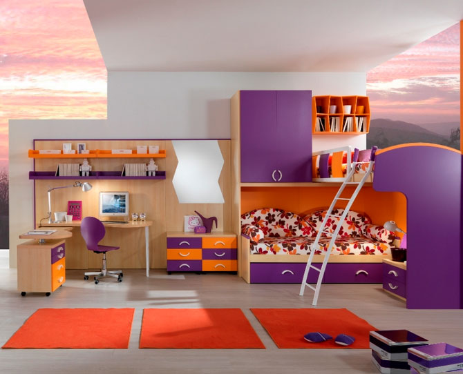 purple bedroom furniture for kids photo - 4