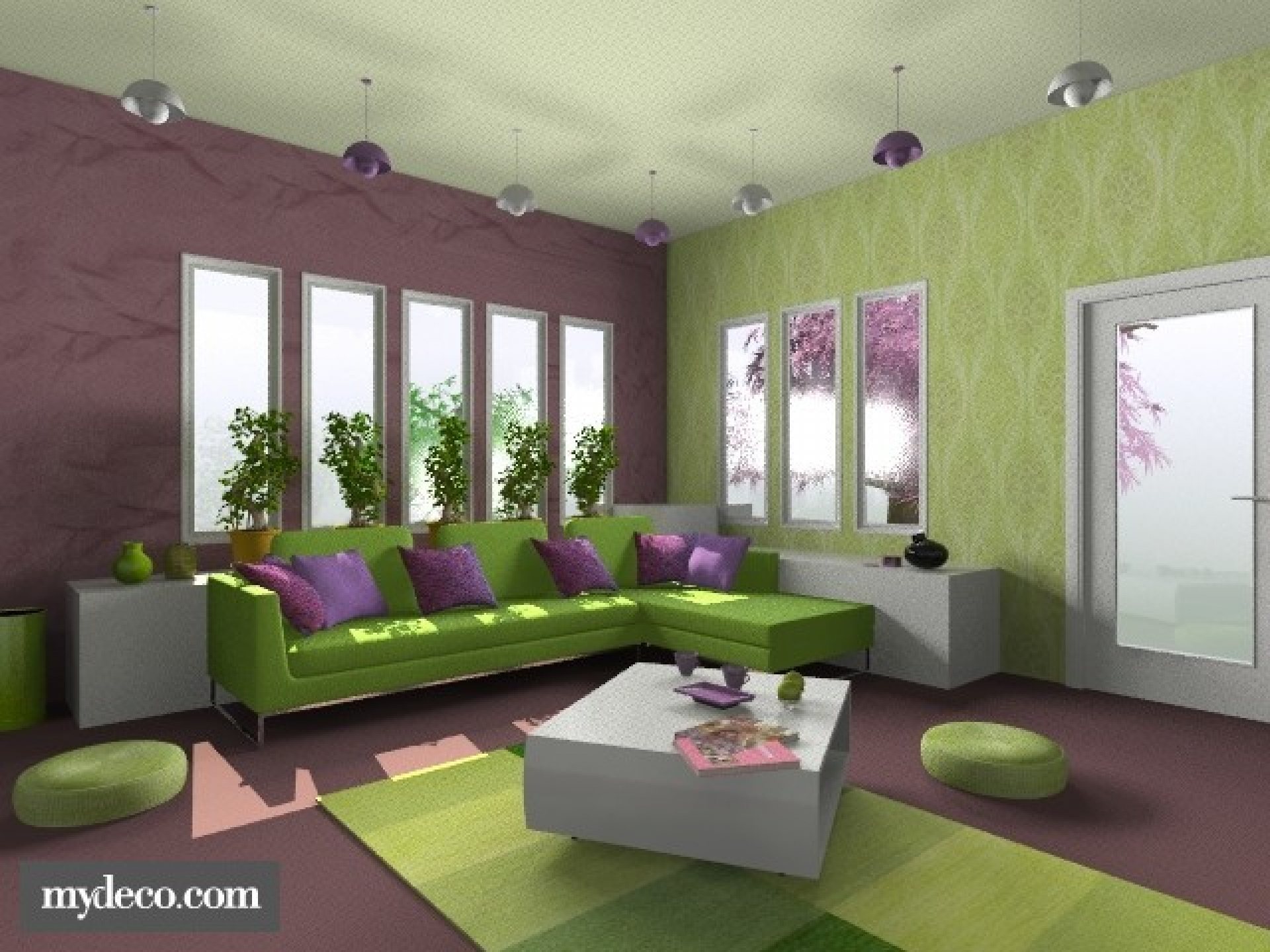 purple room color scheme photo - 3