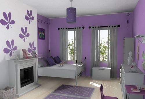 purple room color scheme photo - 4