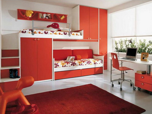 red bedroom furniture for kids photo - 1